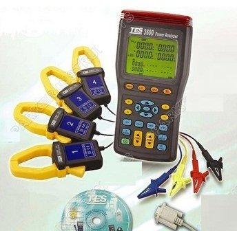 Gowe® 3P4W Power Quality Analyzer TES-3600, TES-3600 Three 3 Phase Power Factor Meter Analyzer Tester True RMS w/Software by Gowe