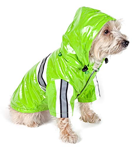 PET LIFE 'Reflecta-Glow' PVC Waterproof Fashion Insulated Adjustable and Reflective Pet Dog Coat Jacket Raincoat w/ Removable Hood, Medium, Lime Green