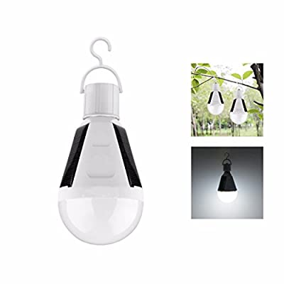 Solar Led Light Bulbs, Alotm Portable 12W 540LM Solar-Powered Hanging Light Rechargeable Emergency Light Bulb IP44 Waterproof Indoor Outdoor Lighting Lamp for Hiking Fishing Camping - Cool White