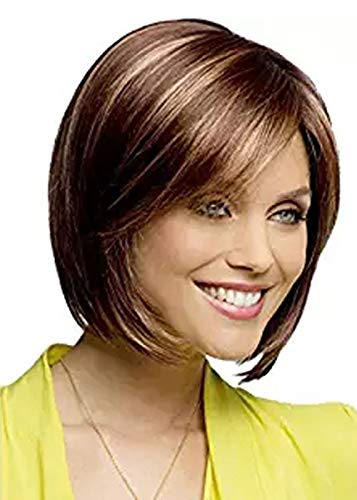 MILISI Short Straight Bob Wigs for White Women Brown Synthetic Hair Natural Daily Full Wigs with Free Wig Cap