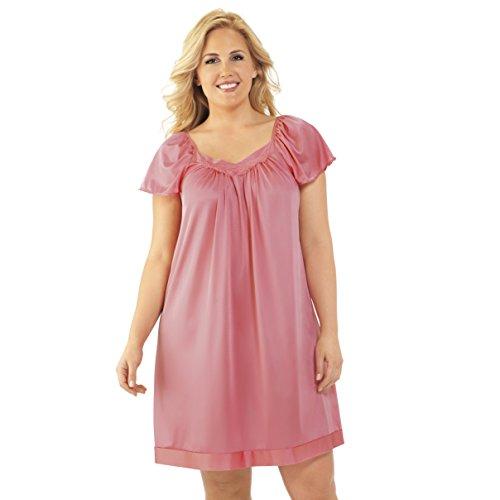 - Exquisite Form Women's Coloratura Sleepwear Short Flutter Sleeve Gown 30109, Pink Parfait, 2X Plus
