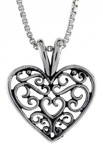 (Sterling Silver Small Filigree Heart Pendant Charm 925 Jewelry Making Supply Pendant Bracelet DIY Crafting by Wholesale Charms)