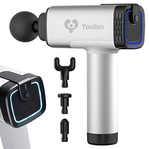 Youlisn Muscle Massage Gun - Deep Tissue Massager Gun for Athletes - Cordless Percussion Massagers Handheld - 4 Changeable Heads - Silver