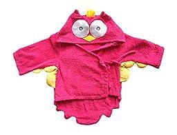 Baby Bathrobe Hooded Towel Owl Pink (One Size)