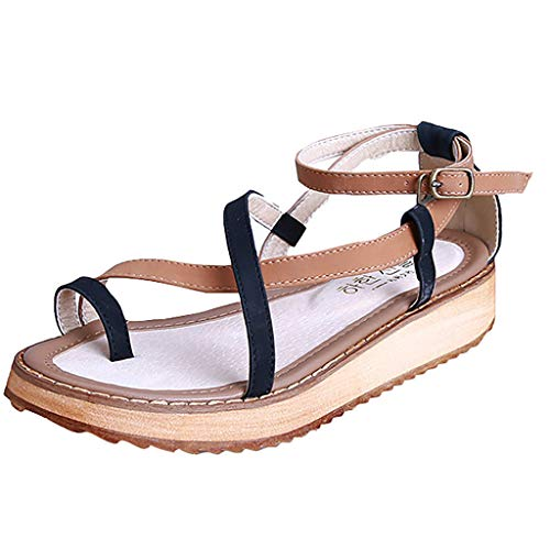 【MOHOLL 】 Women's Flat Sandal with Toe Ring and Ankle Straps Wedges Platform Round Toe Shoes Sandals Black