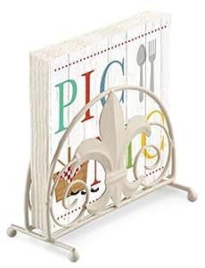 PICNIC ANTS WOOD EFFECT 20 X 3 PLY PAPER NAPKINS & FLEUR DE LYS NAPKIN HOLDER SET