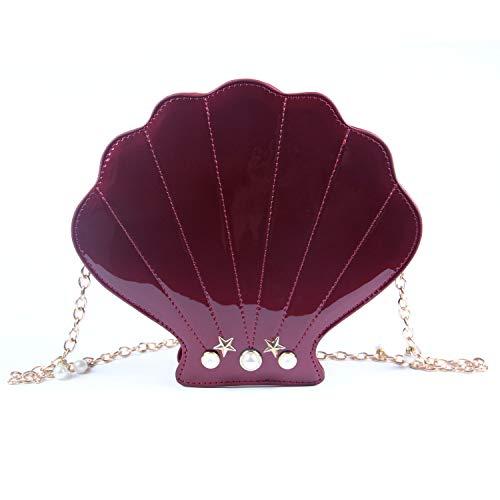 LUI SUI Women Novelty Laser Shell Shape Cross-body Shoulder Bags Pearl Chain Evening Purse -