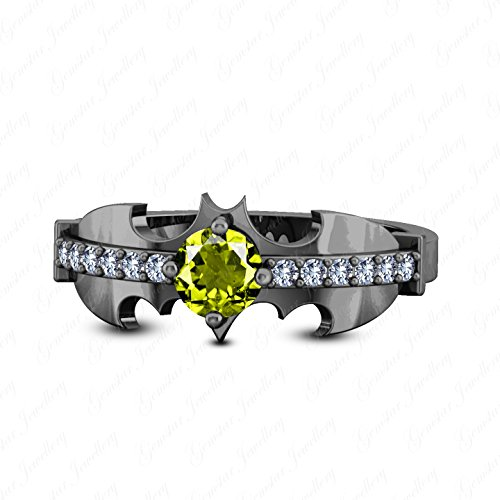 Batman Wedding Ring With Diamond (Gemstar Jewellery 18K Black Gold Plated Green Peridot Batman Ring Children Boy Comics Birthday)