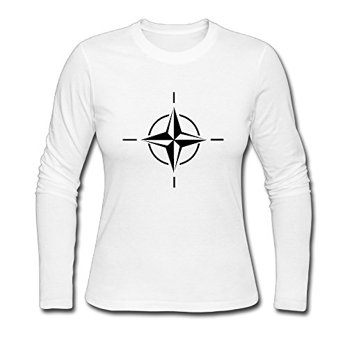 - Women's Fashion NATO Long Sleeve Tee Shits White US Size S