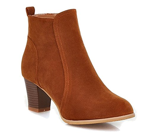 HiTime Ladies Comfortable Suede Leather Ankle Boots Zip Mid Block Heels Office Short Boots Brown mXhr6j
