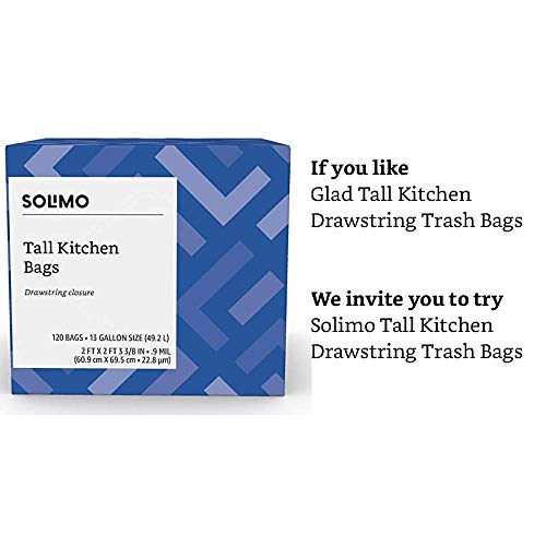 Amazon Brand - Solimo Tall Kitchen Drawstring Trash Bags, 13 Gallon, 120 Count