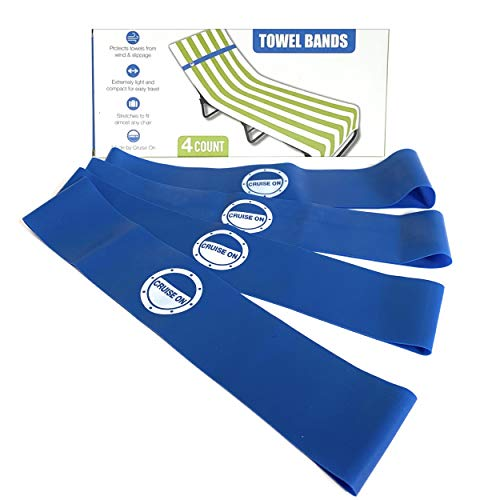 Cruise On Towel Bands (4 Pack) - The New Towel Clips Alternative for Beach Chairs from