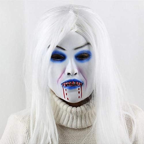 UELEGANS Máscara de Disfraces de Halloween, Peluca de látex Peluca máscara de simulación Blanca, Adecuada para Todo Tipo de Fiestas, para Proporcionar más diversión y emoción para la Fiesta: Amazon.es: Hogar