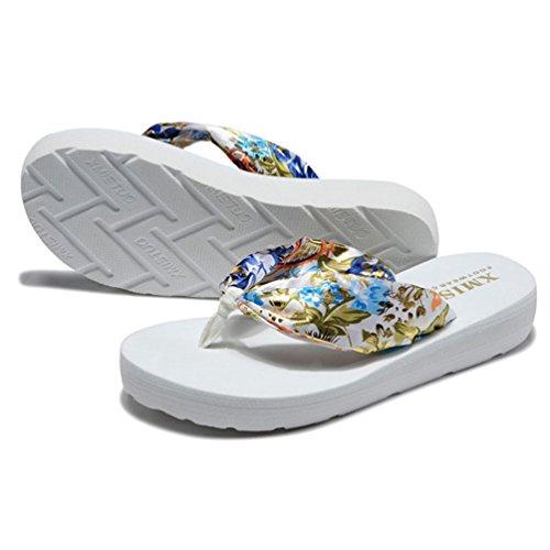 Sandale 42 35 Plage Mode Talons Antidérapantes de Tongs Blanc Bronzage Plates Ouvertes Sandales Femmes rPqx5vrfw1