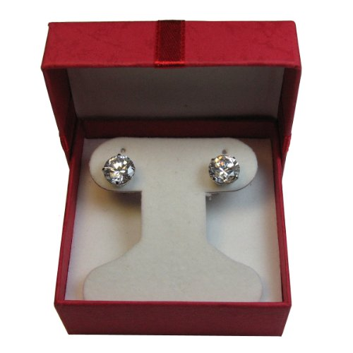 Sterling .925 Silver Earring with Cubic Zirconia Clear White CZ stone 2.00 MM /0.06 CT Diamond Weight with FREE GIFT BOX . Total (2 pcs) 0.12 CT CZ Earring 0.06 Ct White Diamond