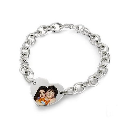 Sterling Silver Photo Engraved Bracelet - Sterling Silver - 7 Inch