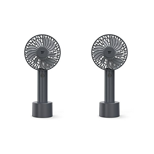 2 Pack TaoTronics Handheld Fan, Mini Personal Portable Fan with 2000mAh Rechargeable Battery, 4 Speed Settings and Memory Function for Home, Office & Travel Use (Gray) by TaoTronics