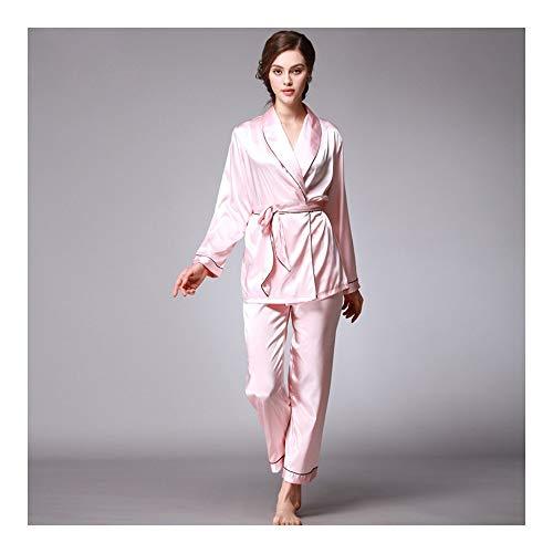 rosa Lady Sleepwear HAOLIEQUAN Di V Lunghi Gomma Pezzi Completo A Pigiama Scollo Set Vestitino Donna Due Da Con Pigiama Di Pantaloni Set Seta In q1gR1r