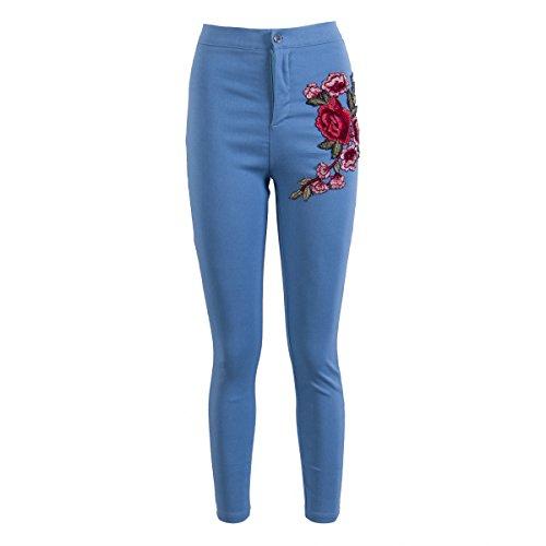 Pencil Applique Floral Women High Harri Stretch Jeans Waist Ripped Embroidered Blue Denim me 5qwE5IX