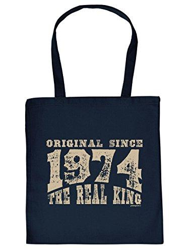 Geschenkidee zum 40. Geburtstag: Unisex Jutetasche/ Einkaufstasche/ Stoffbeutel/ Original since 1974 The Real King