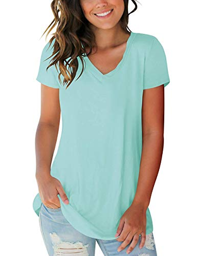 Plus Size Womens Tops T-Shirts Short Sleeve V Neck Summer Cotton Blouses