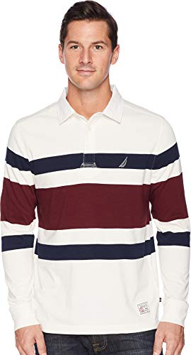 Striped Jersey Polo - Nautica Men's Striped Heavy Weight Jersey Long Sleeve Polo Shirt, Marshmallow, X-Large