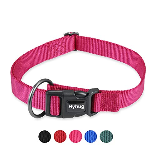 Hyhug Sturdy Regular Dog Collar - Deluxe Buckle Easy to Get On/Off Without Snagging Hair for Pets Comfortable and Safety - Large Giant Breeds Female Regular Dogs Collar.(Large,Solid Rose Red Pink)