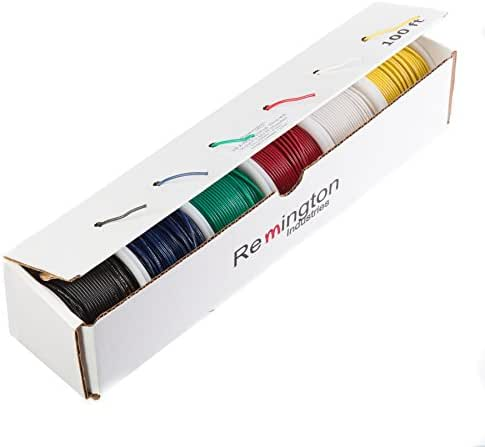 600 Volts 0.0190 Diameter Remington Industries-Wire MIL-W-16878//1 Remington Industries 26MILW16878//1STRKIT10COLOR100 26 AWG Gauge Stranded Hook Up Wire Kit 100 feet Length Each 0.0190 Diameter 10 Colors