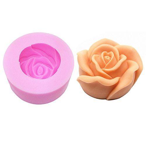 3D Rose Candle Mold - MoldFun 3D Flower Craft Art Silicone Mold for Handmade Soap, Bath Bomb, Lotion bar, Chocolate, Candle, Crayon, Wax