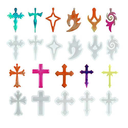 (11 Pcs Cross Shape Resin Casting Silicone Molds Set Jewelry Making Tools for DIY Necklace Pendant Keychain Making)