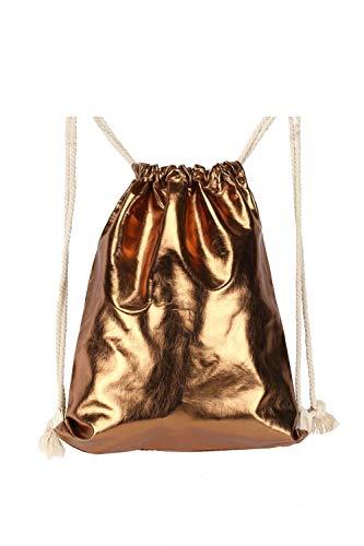 Drawstring Backpack for Men Women Girls Teen, Waterproof PU Leather Sport Gym Sack Bag, Metallic Bronze