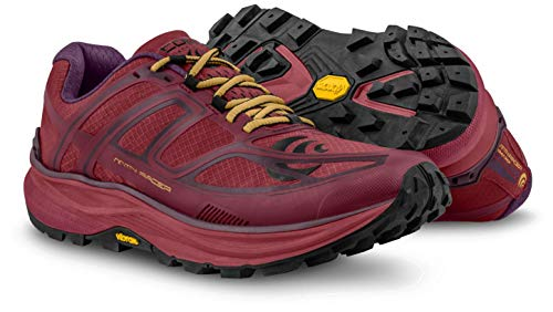 Topo Athletic Women's MTN Racer Trail Running Shoe, Berry/Gold, Size 8