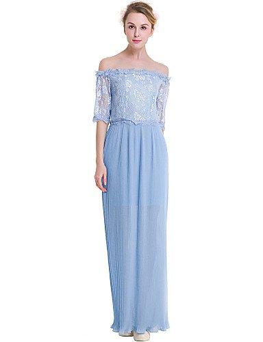 JIALE3536 Vestido Fiesta Mujer,De Fiesta Partido De La Mujer Chiffon Vestido De Encaje Blue