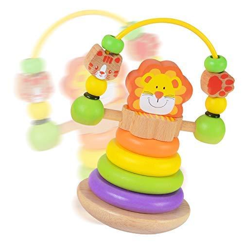 Wooka ライオンスタッカー 木製レインボーリング スタッカー 教育玩具 赤ちゃん 幼児用   B07GB36BGV