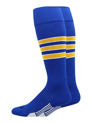 MadSportsStuff Dugout 3 Stripe Baseball Socks (Royal/Gold/White, Medium)