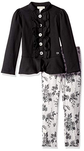 Calvin Klein Baby Girls 2 Pieces Jacket Set, Black/Gray, 5 ()