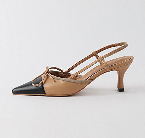 VIVIOO Zapatos de tacón alto Sandalias de tacón alto Zapatos de tacón alto Consejos de mujer de principios de primavera Fina con zapatos individuales Banda elástica resistente al color con sandalias B brown