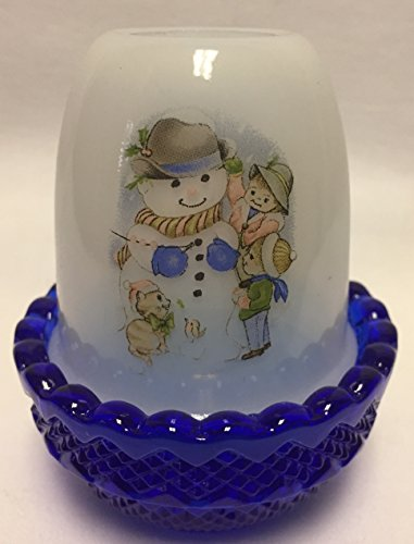(Milk Glass & Cobalt Blue Glimmer Candle Fairy Lamp w/ Snowman)