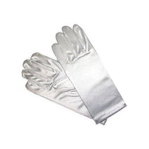 Girls White Satin Gloves