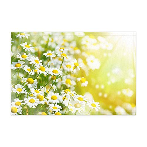 - GoEoo Spring Garden Theme Bath Rugs for Bathroom Yellow Cute Small Daisy Flowers Shower Mat 15.7X23.6in Doormat for Home Decor