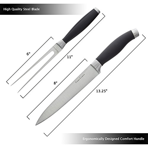 Professional Quality 2 Piece Carving Set Stainless Steel 8 inch Knife and Fork, Hand Forged for Home or Restaurant by Classic Cuisine by Classic Cuisine (Image #2)'