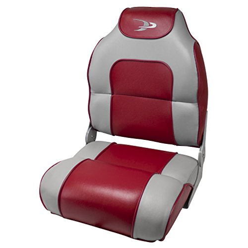 Back Boat Vinyl Seat (Wise High Back Boat Seat with Logo (Marble/Red))