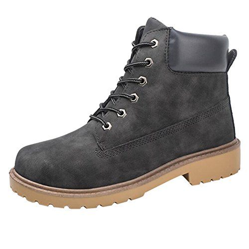 Hzjundasi Neue Mens Casual Stiefel Ankle Boot Schuhe Trainer Lace Up Walking Work Schuhe Grau