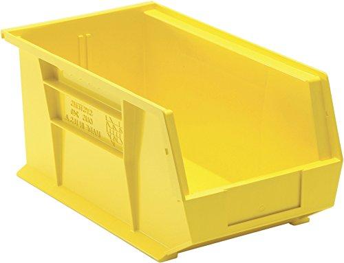 Aviditi BINP1487Y Plastic Stack and Hang Bin Box, 14-3/4'' Length x 8-1/4'' Width x 7'' Height, Yellow (Case of 12)