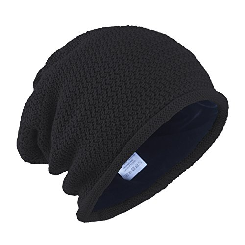 Cotton Lined Cap (Janey&Rubbins Men's Knit Beanie Hats Thick Villi Lined Cotton Skull Skiing Caps (Black))