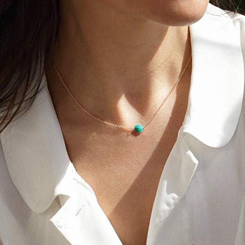 Sterling Silver Turquoise Choker Necklace, Handmade with Dainty Real Turquoise Rose Gold Plated Necklace for Women or Girl