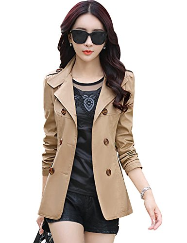 Tanming Women's Lapel Double Breasted Short Trench Coat Jacket (Medium, - Trench Jacket Short