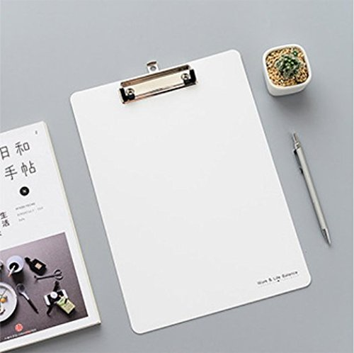 Zehaer A4 Paper File Clipboard Documents Folder Holder File Organizer Writing Board Pad (White)