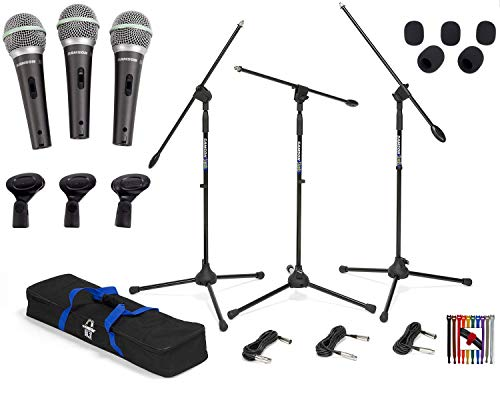 Three Samson Q6 Dynamic Supercardioid Handheld Vocal Mics with Mic Clips and Carry Case + 3 Samson BL3 Boom Mic Stands & 3-18ft XLR Mic Cables with Carry Bag + 5 Mic Windscreens + 10 Cable Straps ()