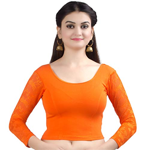Chandrakala Women's Stretchable Readymade Lycra Orange Indian Ethnic Saree Blouse Crop Top Choli-X-Small (B101ORA1)